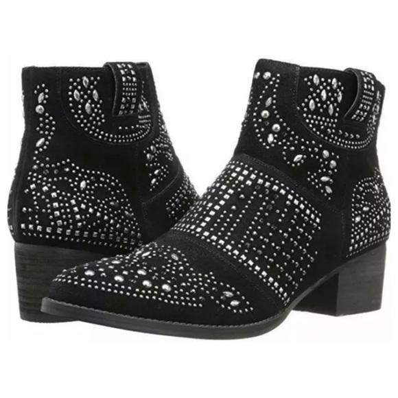 Fergie Elis Studded Black Suede Block Heel Booties